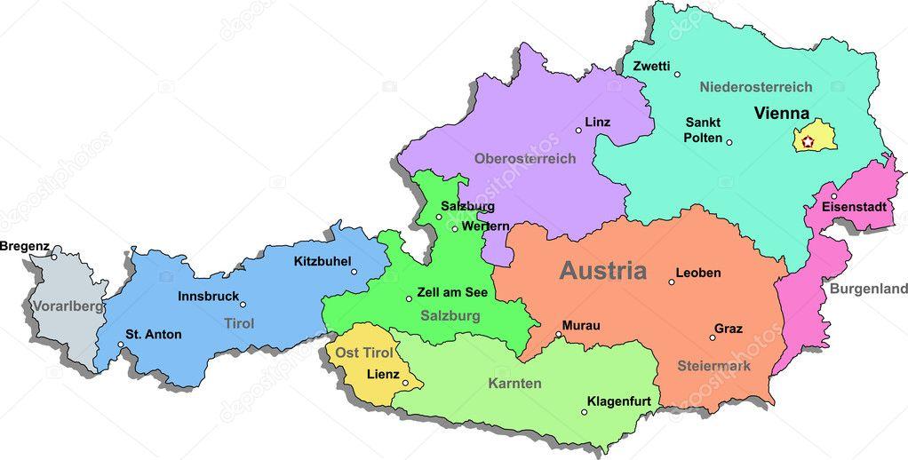 Austria Map Stock Vector DylanBZ - Austria map