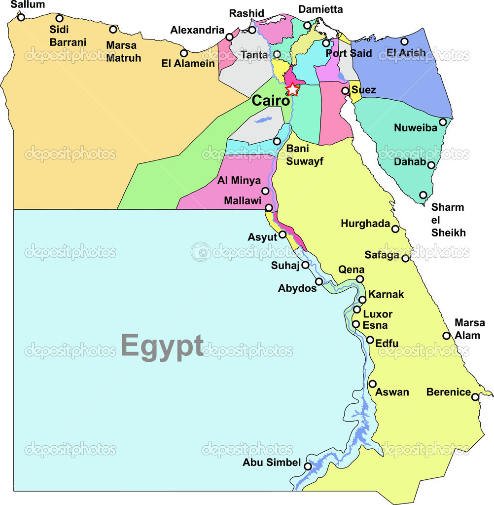 Vector Egypt Map Stock Vector DylanBZ - Map of egypt vector