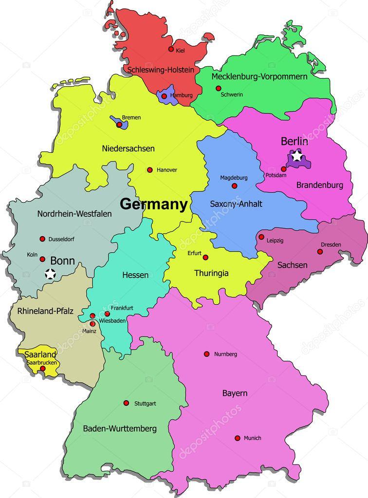 Carte Allemagne Bonn.Vector Allemagne Carte Image Vectorielle Dylanbz C 3608293