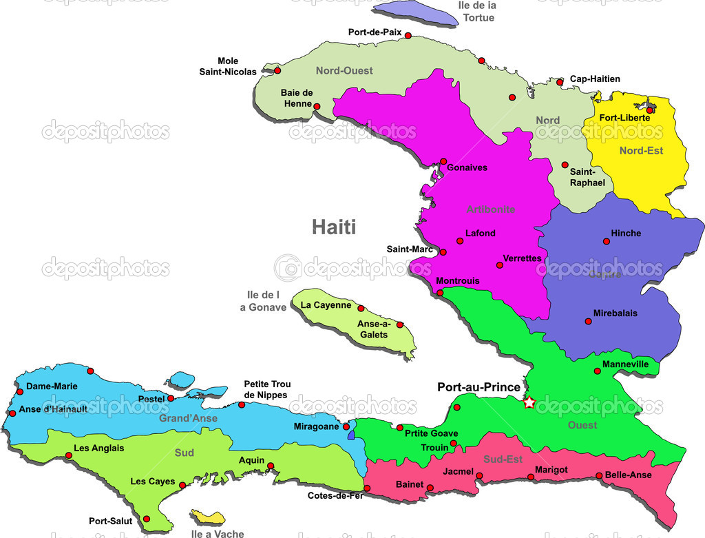 Vector haiti map stock vector dylanbz 3608307 color haiti map with regions on a white background vector by dylanbz gumiabroncs Choice Image