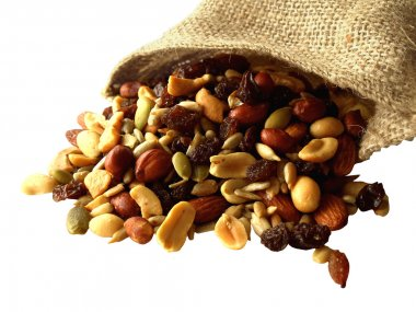 Trail mix of nuts, seeds, and dried fruit.