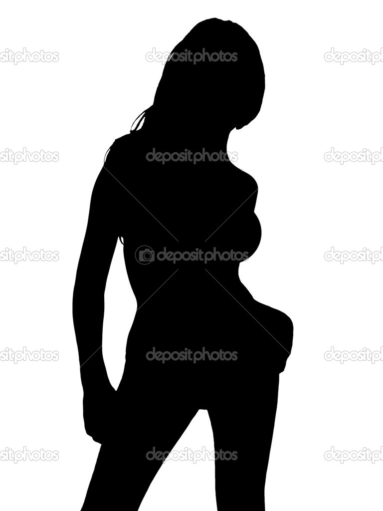 Naked woman silhouette showing boobs black and white