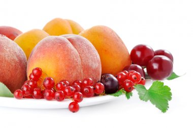 Fruits and berries on a white background in the plate