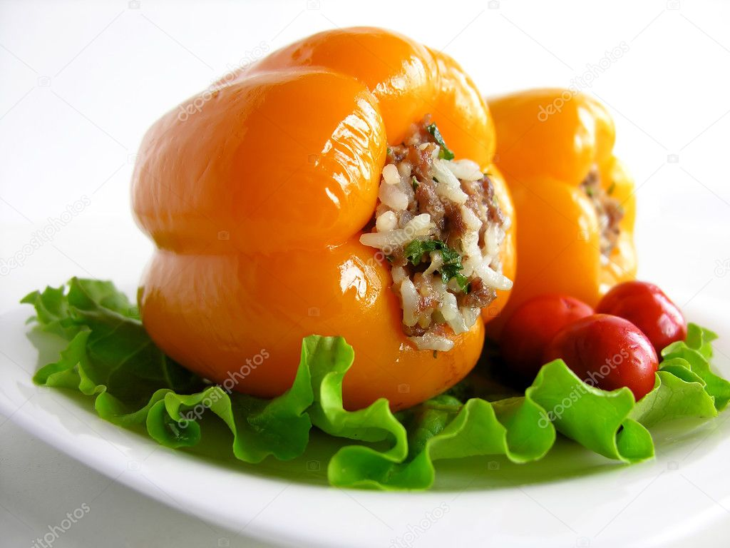 Stuffed peppers with greens