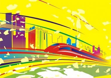 Abstract underground on city background