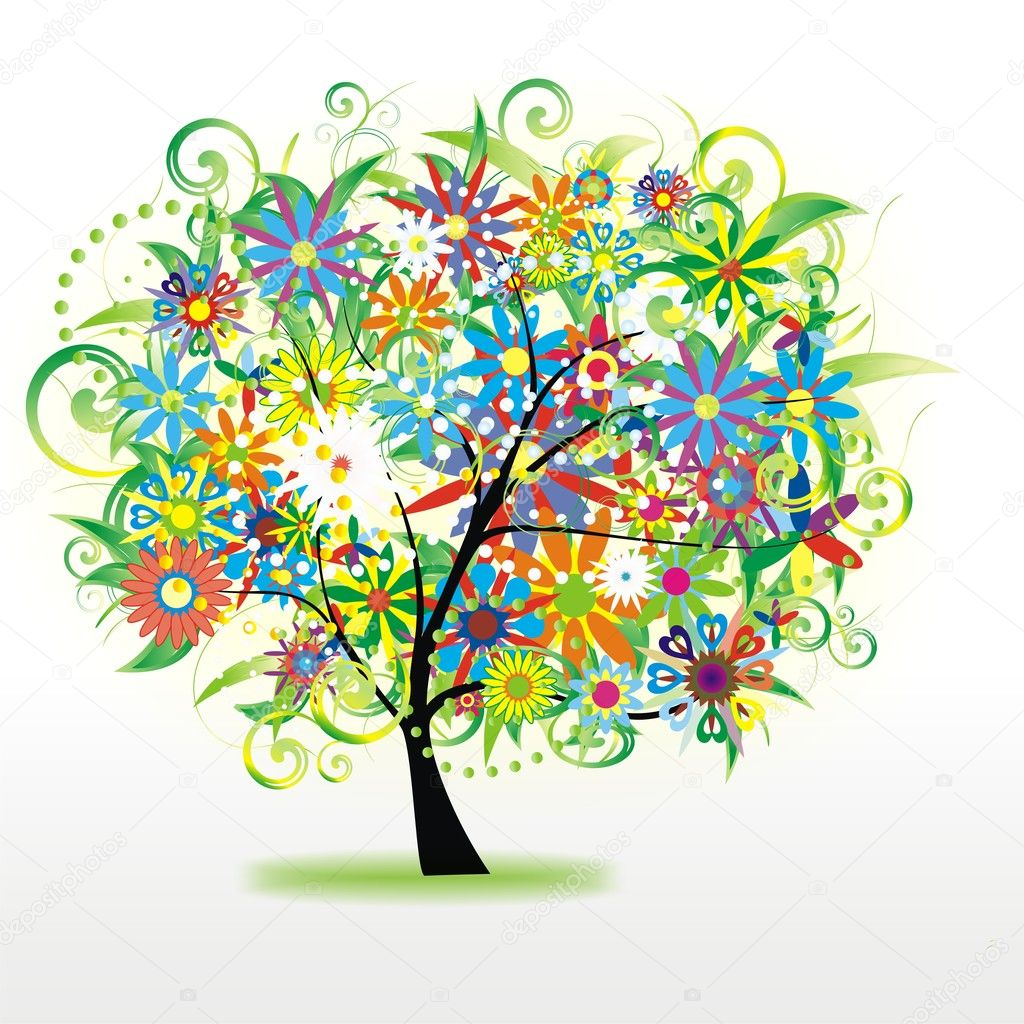 Vector abstract colorful tree