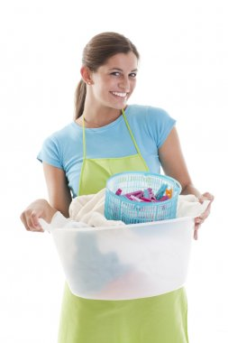 Happy Woman Doing the Laundry