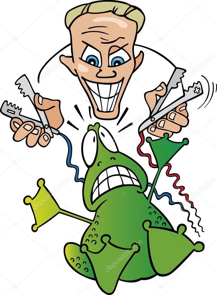 rana y un científico loco — Vector de stock © izakowski #3647652