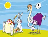 Velikonoční zajíček a pštros