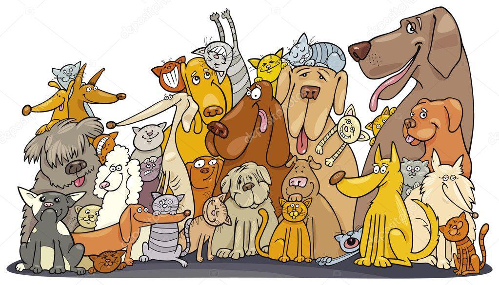 Большая группа кошек и собак — Векторное изображение ...