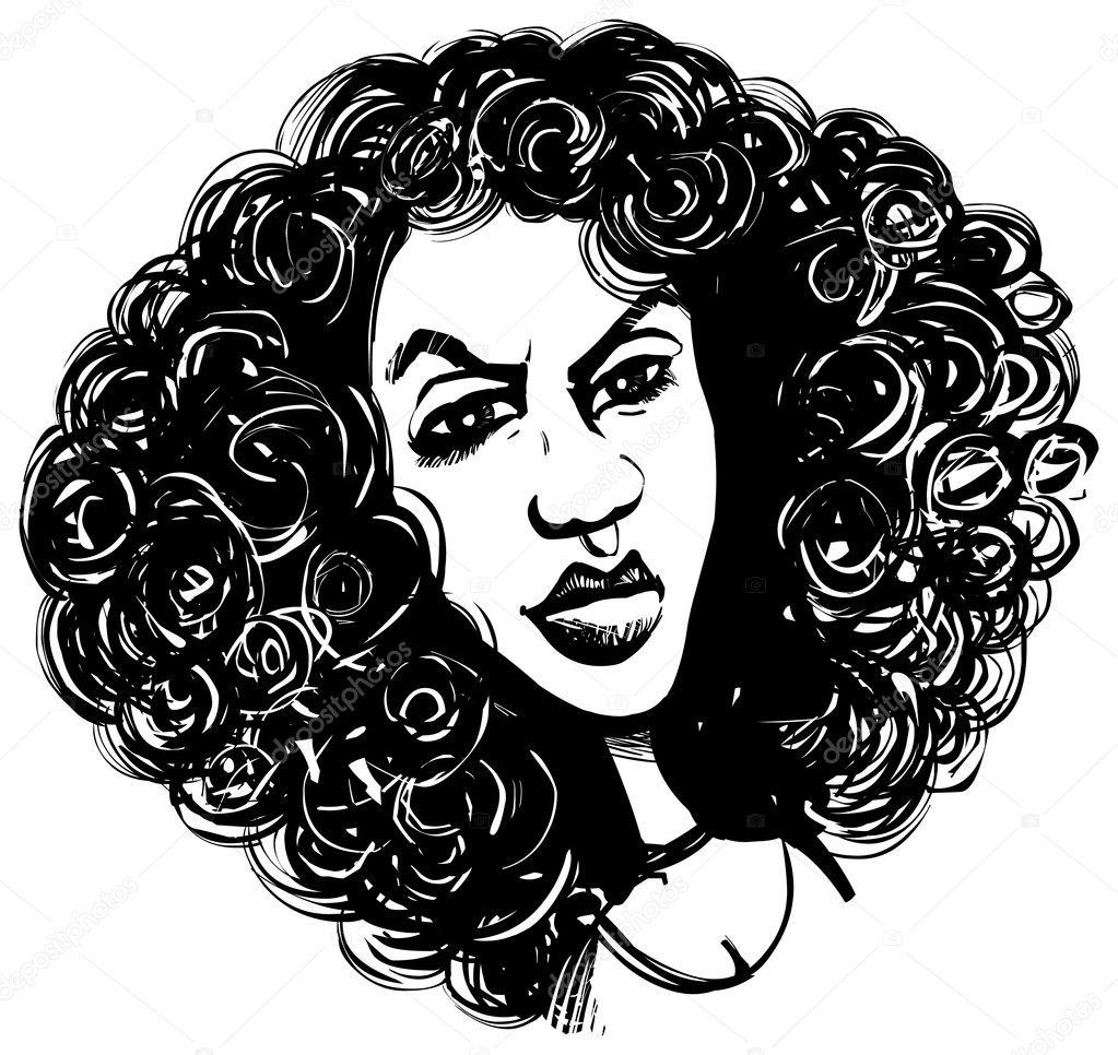 Imágenes Caricaturas Mujer Cabello Rizado Mujer Con Cabello