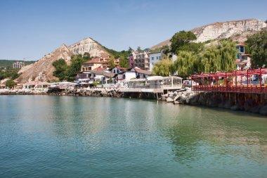 Balchik resort shore in Bulgaria stock vector