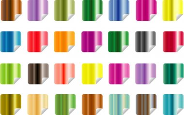 Vector pack of stickers with metallic colors icon