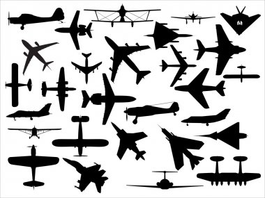 Vector pack of various civil and military airplanes silhouette stock vector