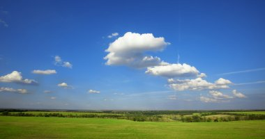 Summer landscape: cloudy blue sky over green meadow