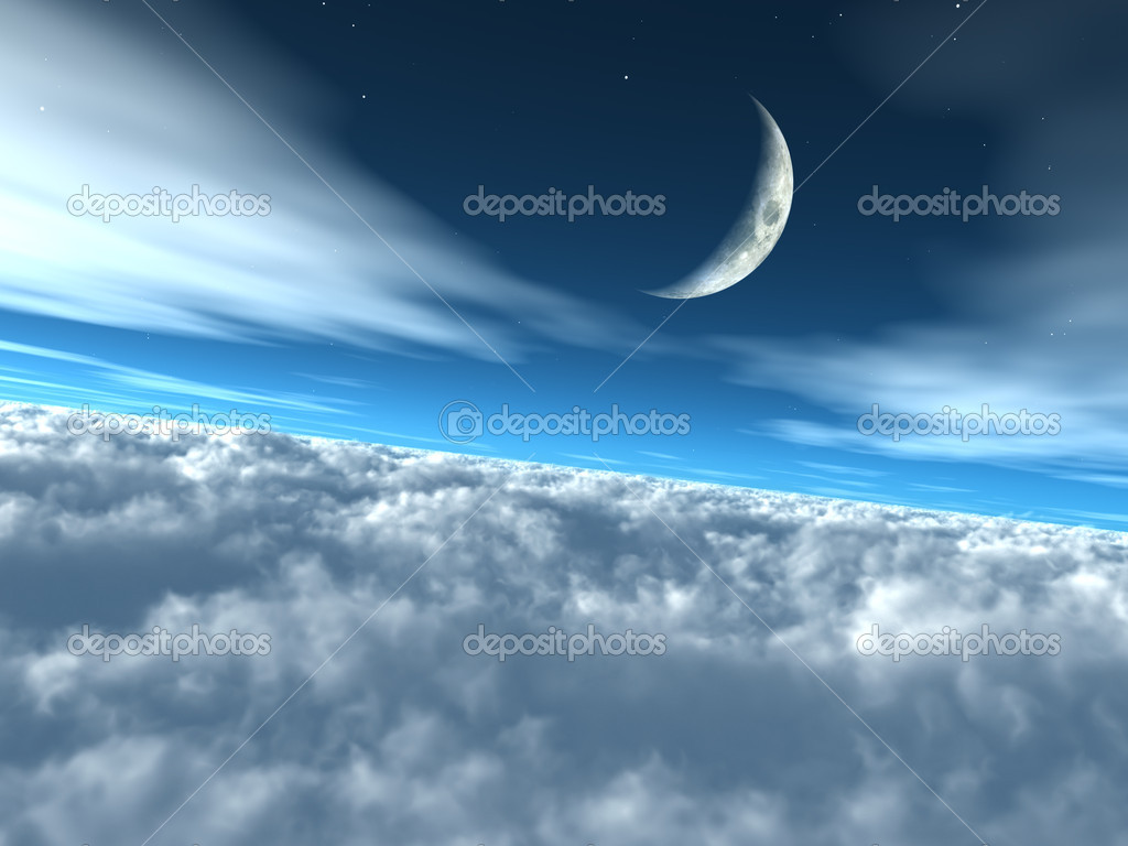 Above the Clouds Heavenly Lunar Sky