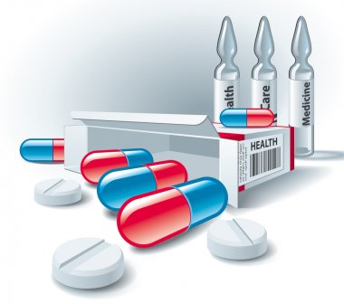 Pills, tablets, box and ampoules on white background. Vector Ill