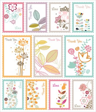 Decorative floral post stamp set