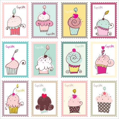 Cupcake Post Stamp Design Set