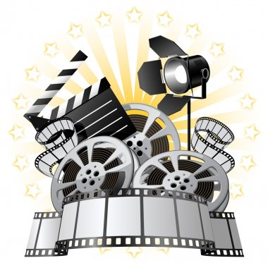 Film Premiere poster with Film Reels and Film Slate stock vector