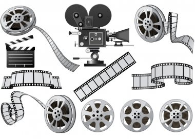 Film Industry attributes - film, movie camera and Film Slate stock vector