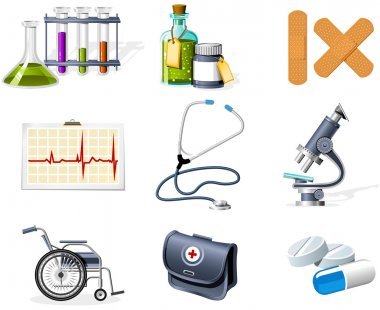 Medicine and Healthcare icons stock vector