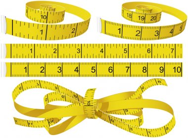Yellow Measuring Tapes set in different shape in centimeters and inches stock vector