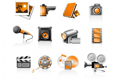 Multimedia icons set - photo and video stock vector