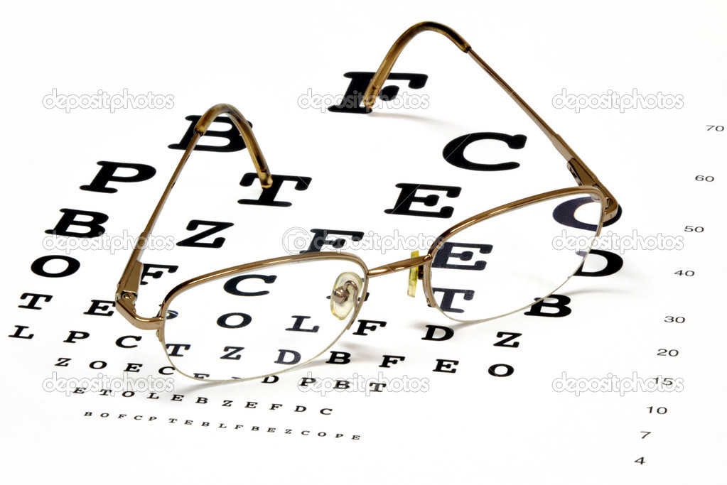 137fa82ce51 Modern eyeglasses resting on eye chart — Photo by svanhorn