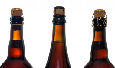 Corked beers bottles