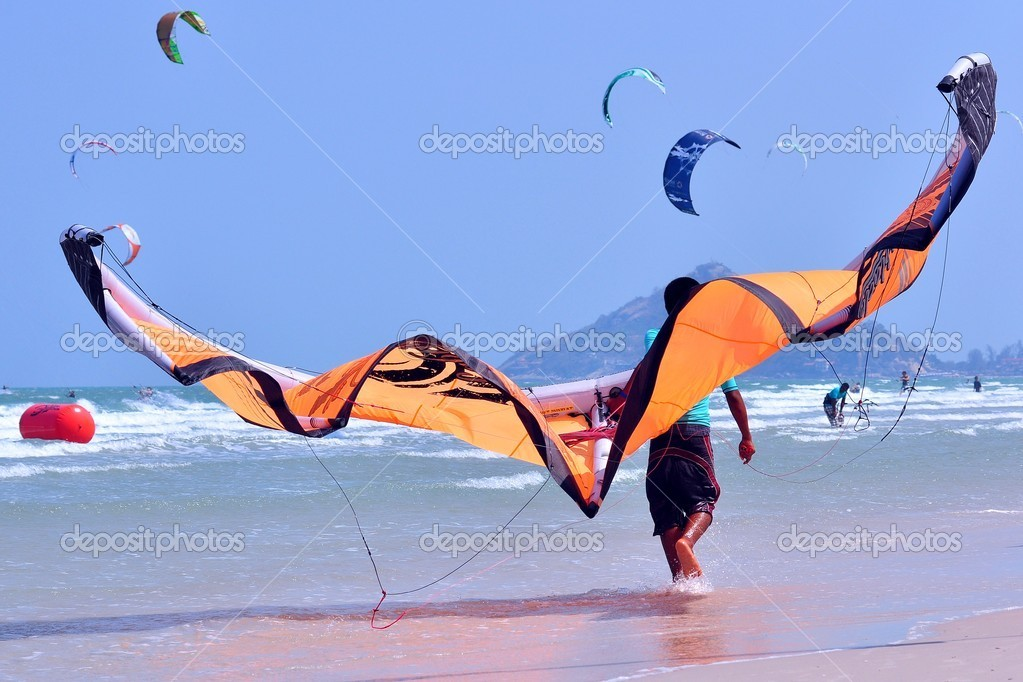 Kite surf or kite boarding at Huahin Thailand