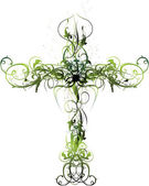 Photo Green Floral Cross