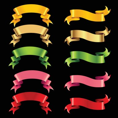Set of colour ribbons isolated on black