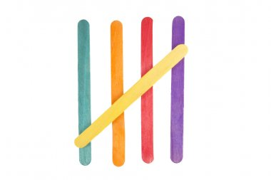 Coloured sticks from popsicles.