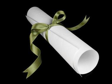 Diploma with green ribbon