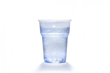 Plastic cup with water bubbles