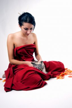 Pretty woman with cat