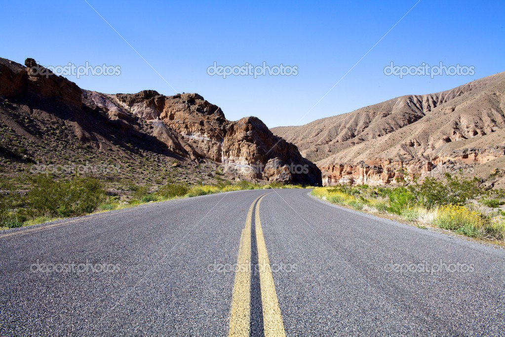 Desolate Highway into Mountains