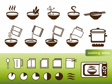 Cooking signs, set