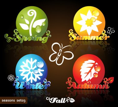 Colorful seasons icons, glossy floral design, dark background clip art vector