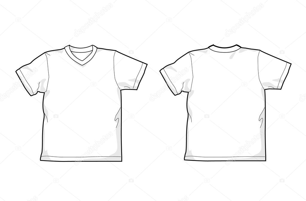8c5f6fe3ed6c White T-shirt - back and front, V-neck — Vector by Nevada31