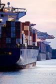 kontejnerové lodě zakotvila v přístavu