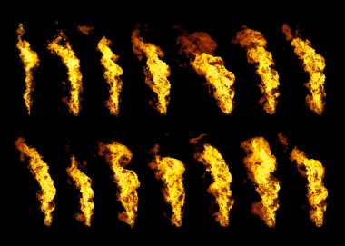 Real flames set of 14 isolated on black