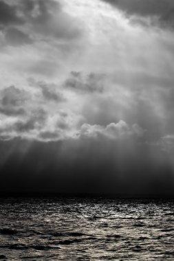 Dark moody ocean landscape