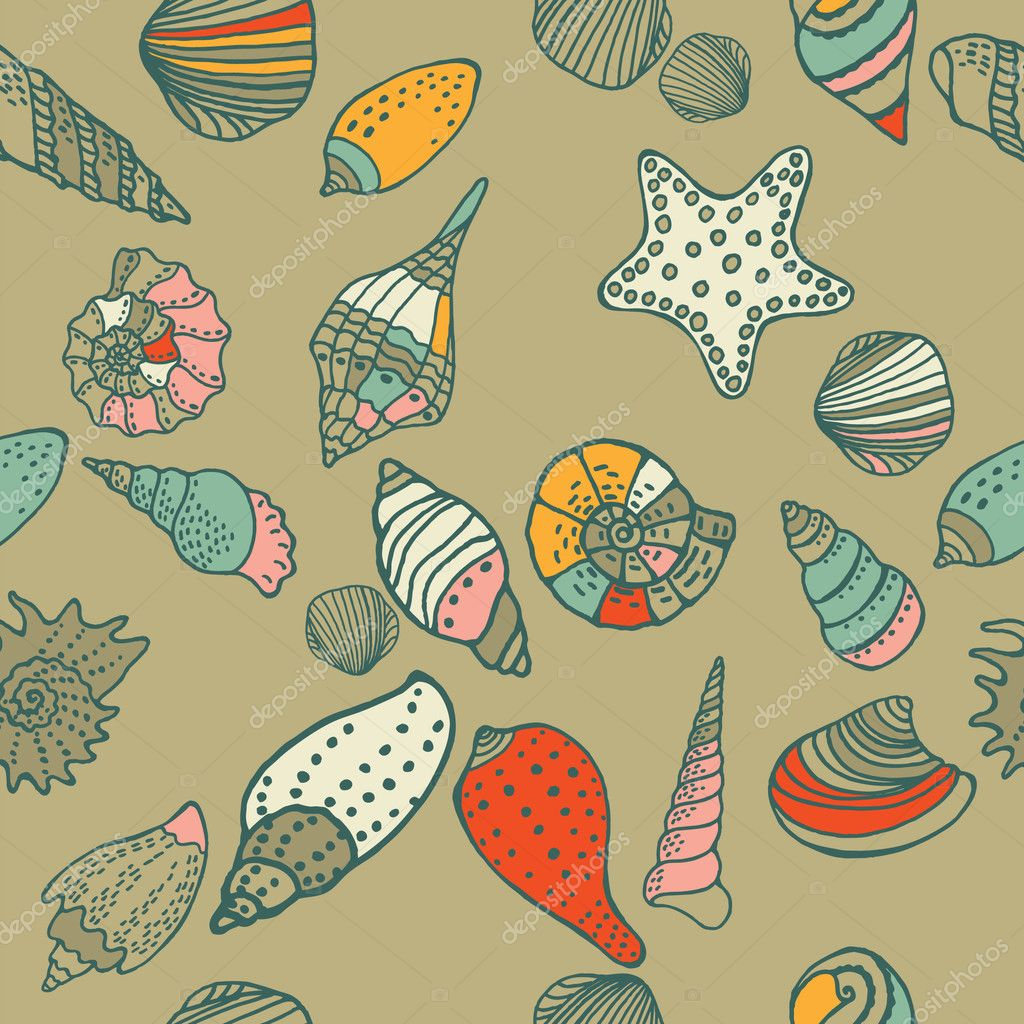 Sea shells seamless pattern