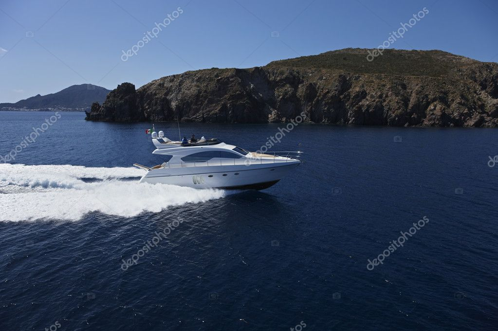 Italy, Sicily, Panarea Island, luxury yacht, aerial view