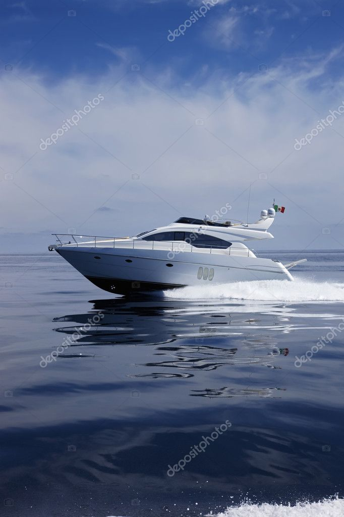 Italy, Naples bay, luxury yacht