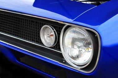 Blue Muscle Car Headlights and Hood