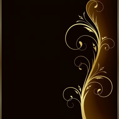 Dark brown square background with golden scrolls on the right hand side. Use of 6 global colors, linear gradients, blend. clip art vector