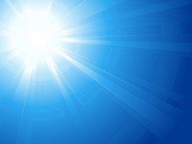 Blue sky with glaring sun, light, sun burst